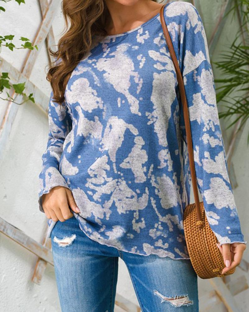 Tie Dye Long Sleeve Loose Blouse