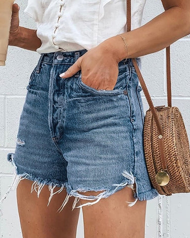 High Waists Fringe Denim Shorts