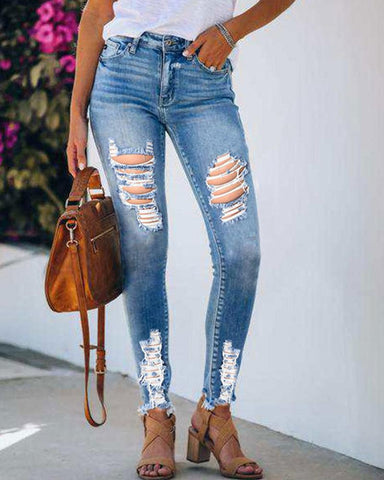 Solid Skinny Slim Ripped Denim Pants