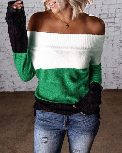 Colorblock Long Sleeve Skinny Sweater