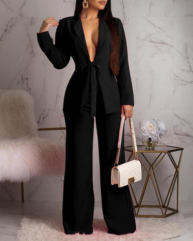 Solid Notched Collar Blazer & Wide Leg Pants Sets