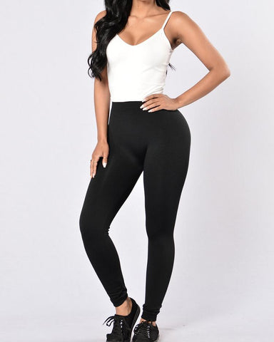 Solid High Waist Sports Leggings