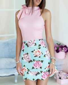 Floral Print Splicing Tied Wave Hem Mini Dress