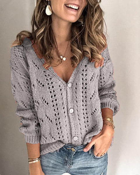 Open Front Long Sleeve Hollow Out Knitting Top