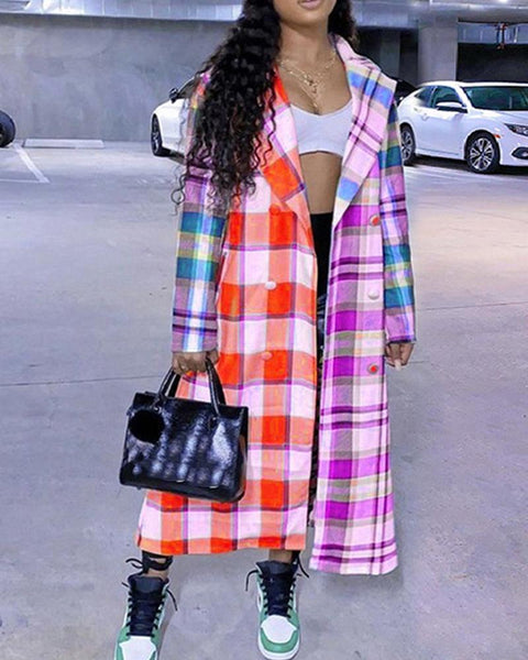 Big Checked Print Long Sleeve Trench Coats