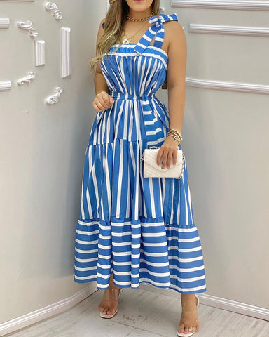 Striped Square Neck Tied Detail Sleeveless Maxi Dress