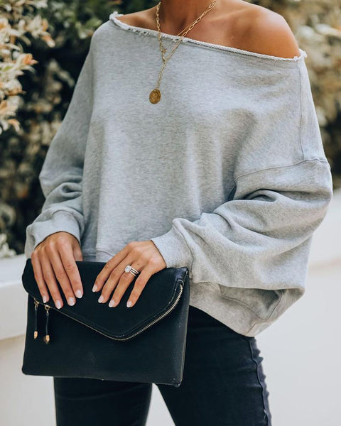 Solid Long Sleeve Off Shoulder Sweater