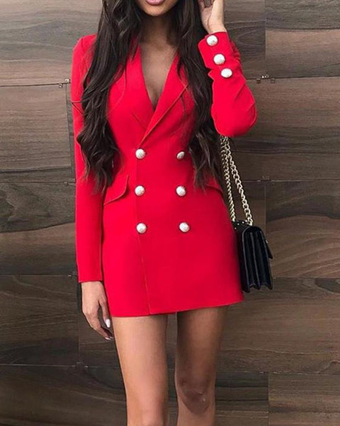 Solid Color Double-breasted Long Sleeve Suit Mini Dress