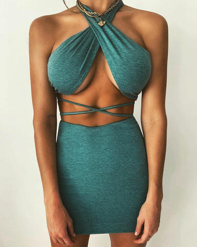 Solid Color Halter Sleeveless Bandage Skirt Sets