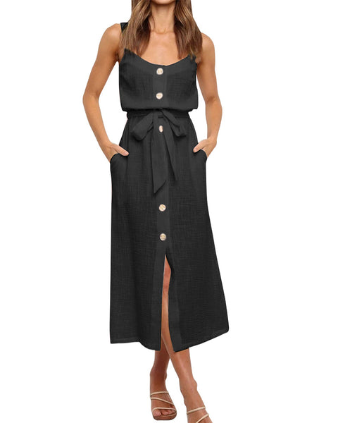 Solid Strap Button-up Lace-up Midi Dress