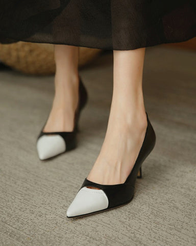 Pointed-toe Color Block Shallow Mouth High Heels