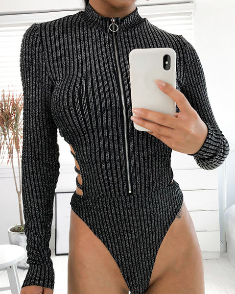 Glitter Crisscross Cutout Backless Zipper Front Bodysuit