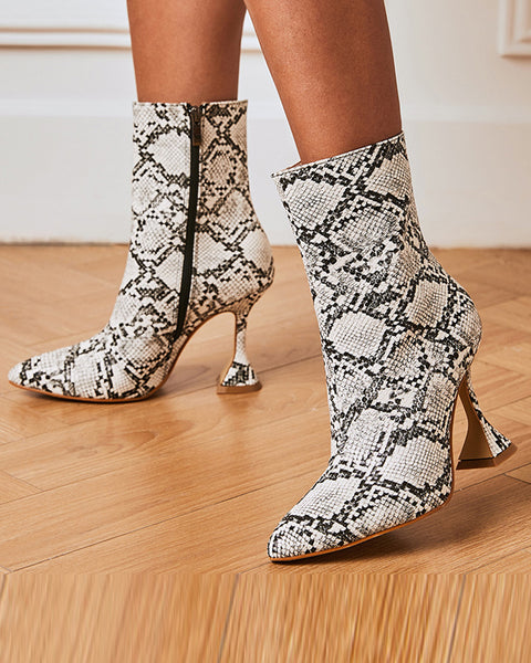 Snakeskin Pattern Pointed-toe High Heel Boots