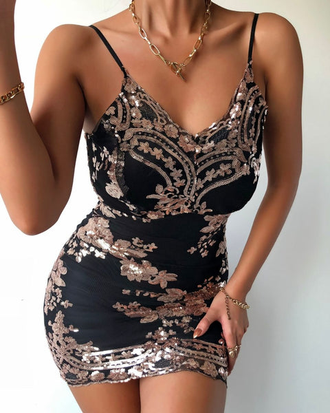 Floral Pattern Spaghetti Strap Sequins Bodycon Dress