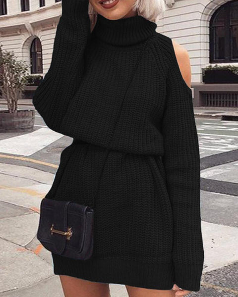 Solid Long Sleeve Cold Shoulder Cable-knit Dress