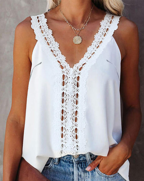 Lace Patch Hollow Out Sleeveless Top