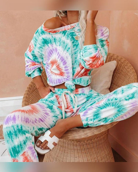 Tie Dye Long Sleeve T-shirt With Pants Suit Sets