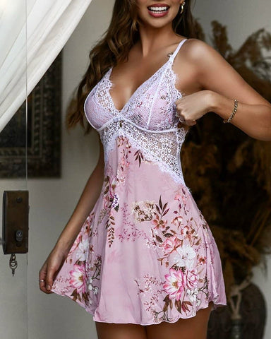 Guipure Lace Satin Floral Print Nightgown
