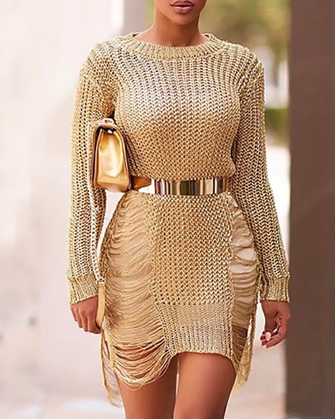 Stylish Ripped Asymmetrical Hem Knitted Dress