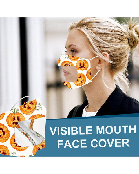 Halloween Print Visible Face Cover Mask
