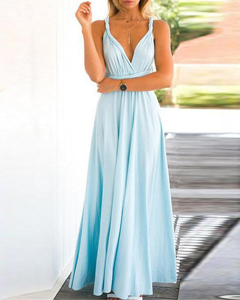 Halter Backless Criss Cross Maxi Dress