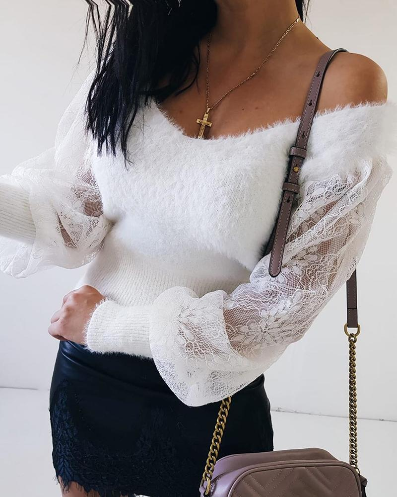 Fluffy Sheer Mesh Lace Lantern Sleeve Sweater