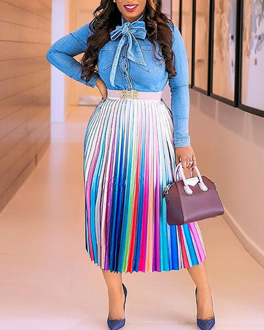 Colorful Striped High Waist Pleated Skirt
