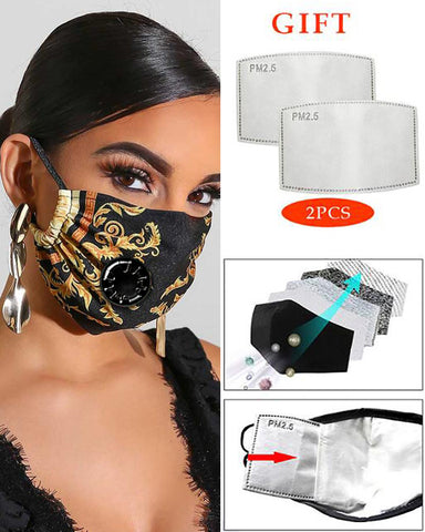 PM2.5 Print Breathing Washable Valve Face Mask (2 filters as gift)
