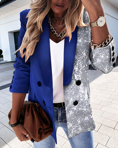 Sequins Long Sleeve Double Breasted Blazer Coat