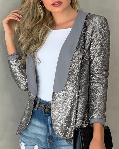 Long Sleeve Sequins Blazer Coat