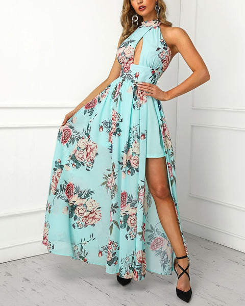 Floral Print Knotted Cutout Back Maxi Dress