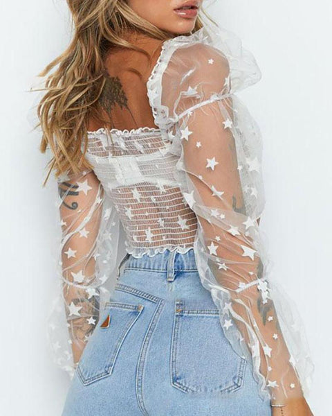 Mesh short sleeve see-through look