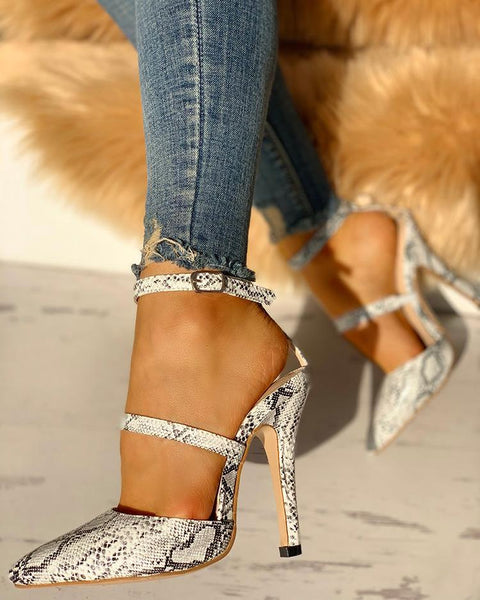Snake Point Toe Cut Out Thin Heels