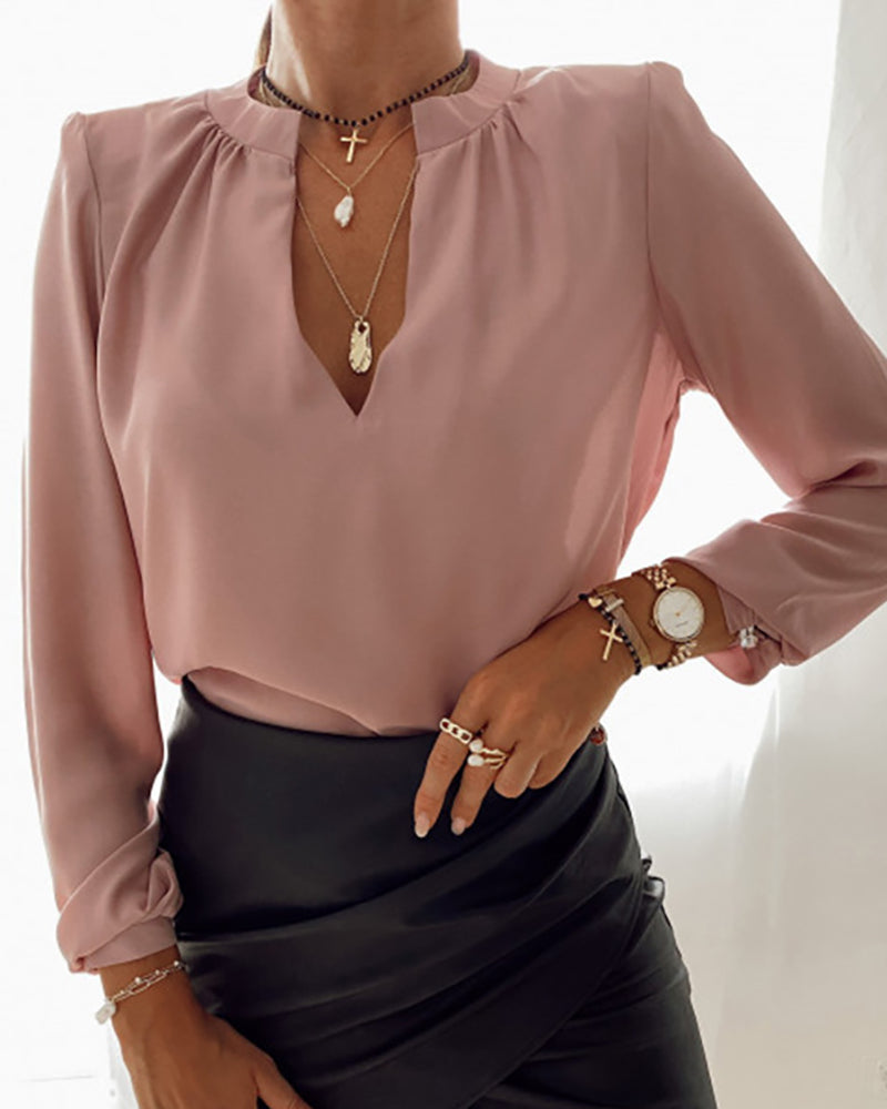 Solid Long Sleeve Plunge Casual Shirt