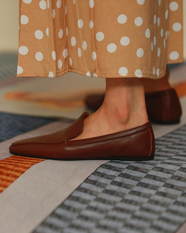 Leather Pointed Toe Loafers
