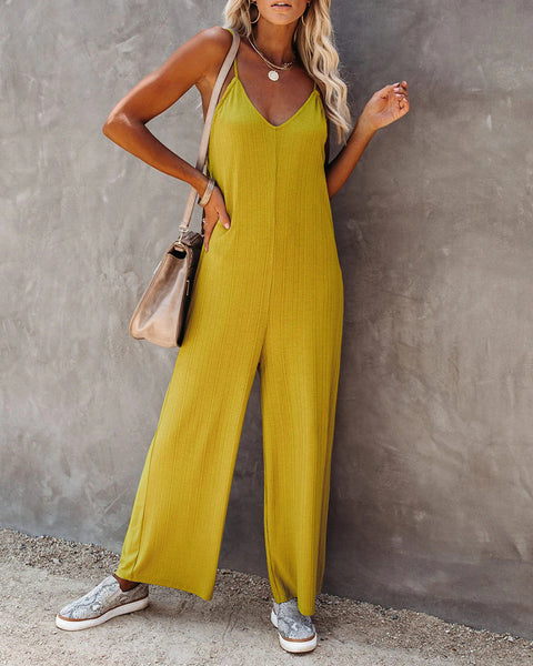 Solid Strap Loose Wide Leg Jumpsuits