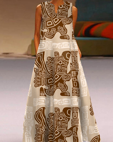 Retro Patterns Print Sleeveless A-line Dress