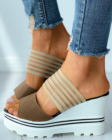 Colorblock Sheer Mesh Peep Toe Wedge Sandals