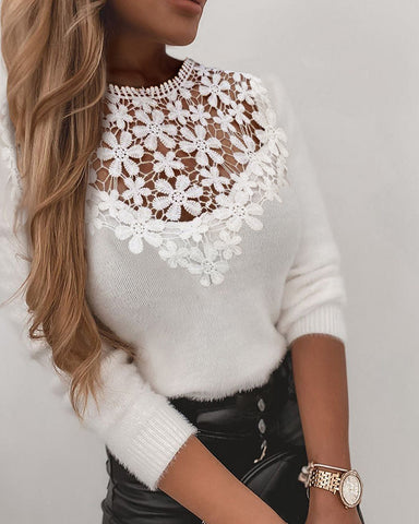 Crochet Lace Long Sleeve Casual Sweater