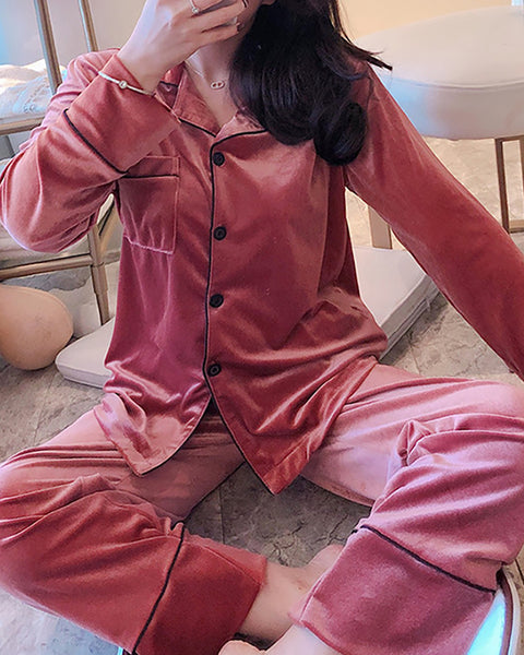 Plain Pocket Design Pajamas Set