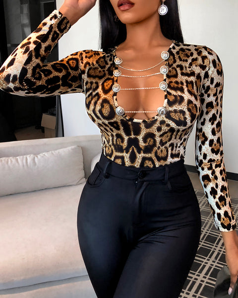 Cheetah Print Cutout Button Design Top