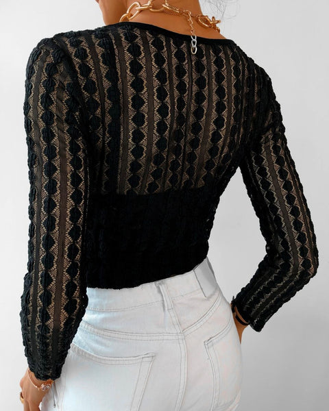 Hollow Out Lace Twisted Crop Top
