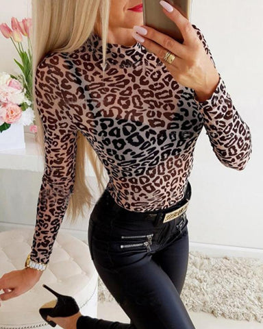 Leopard Print Mesh Long Sleeve Top