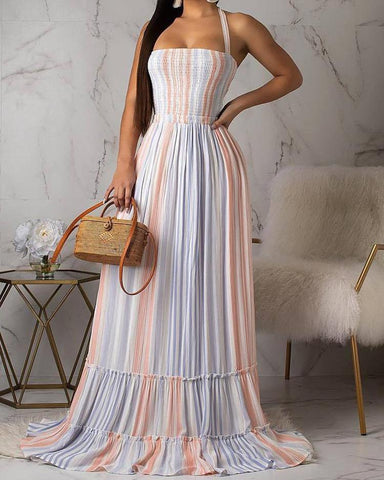 Colorful Striped Halter Shirring Maxi Dress