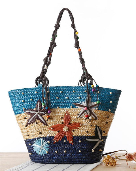 Star Embroidered Bohemian Tote Bag
