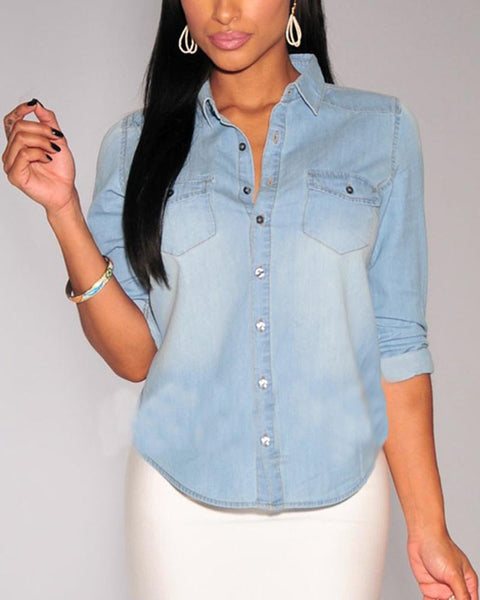 Vintage Button-Up Denim Shirt