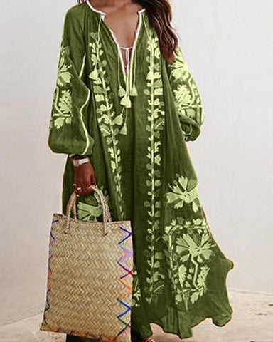 Boho Print Lantern Sleeve Maxi Dress