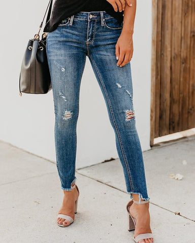 Fringes Hem Distressed Jeans