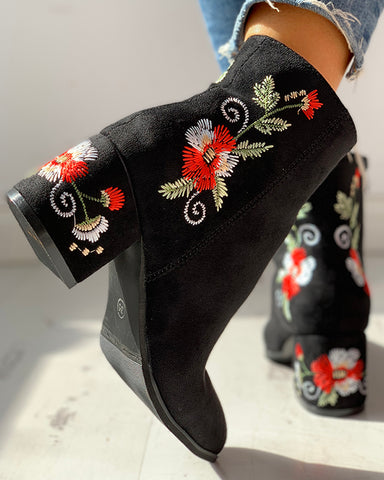 Flower Embroidery Zipper Chunky Heeled Boots