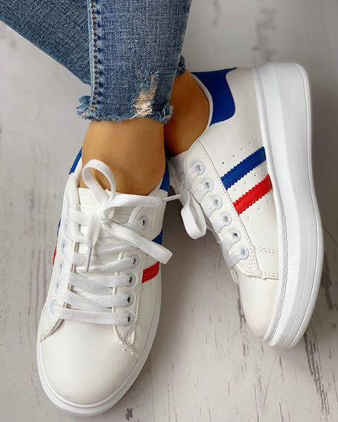 Lace-Up Striped Muffin Casual Sneakers